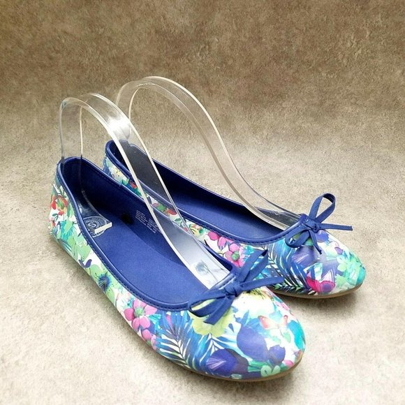 SO Womens Seashell  Sz 9 M Blue  Slip On Floral Ba